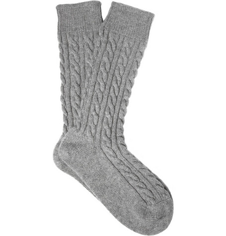 Corgi Cable Knit Cashmere Socks