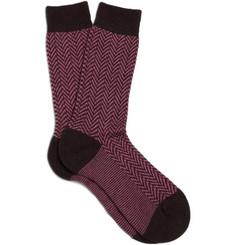 Pantherella Cashmere-Blend Herringbone Socks
