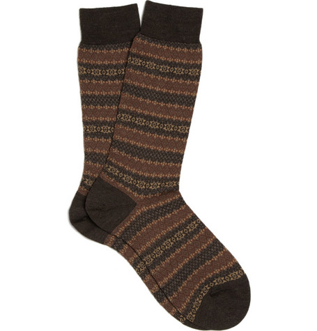 Pantherella Merino Wool-Blend Fair Isle Socks
