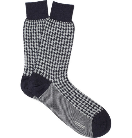 Richard James Merino Wool-Blend Houndstooth Socks