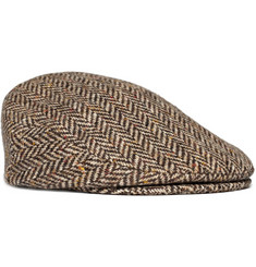 Lock & Co Hatters Herringbone Harris Tweed Flat Cap