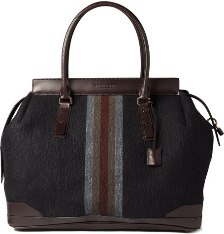 Burberry Shoes & Accessories Large Striped Felt Holdall Bag