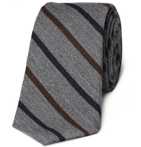 J.Crew Truffaut Striped Wool and Silk-Blend Tie