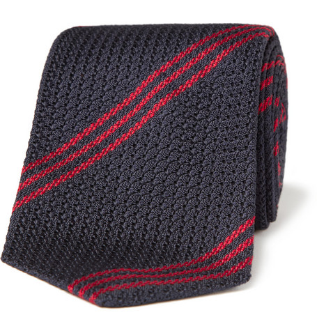 Drakes Striped Grenadine Silk Tie