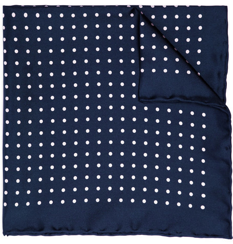 Drake's Spot Print Silk Pocket Square