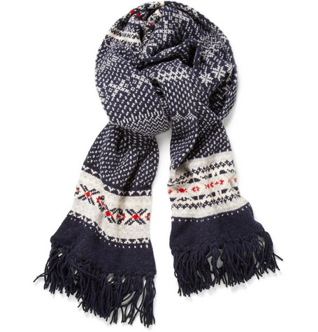 Drake's Snowflake Patterned Wool Scarf