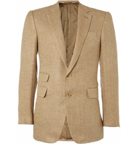 Ralph Lauren Purple Label Savile Row Linen-Blend Herringbone Blazer