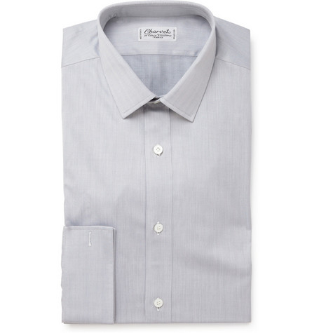 Charvet Slim Fit Herringbone Cotton Shirt