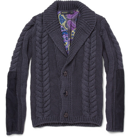 Etro Aran Knit Silk and Cotton-Blend Cardigan