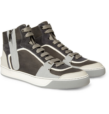 Lanvin Leather and Suede Panelled Sneakers