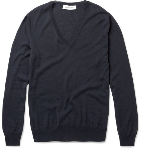 Yves Saint Laurent V-Neck Merino Wool Sweater