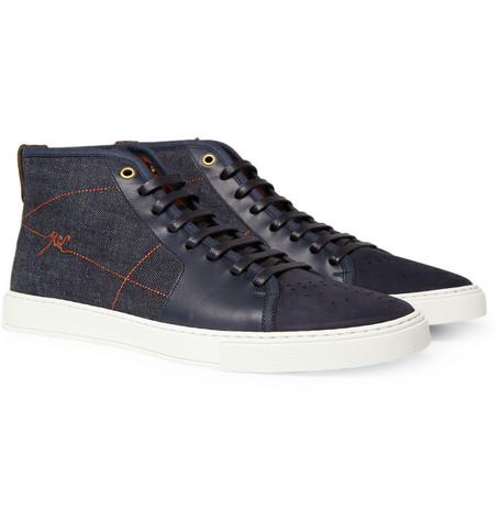 Yves Saint Laurent Malibu High Top Denim Panel Sneakers
