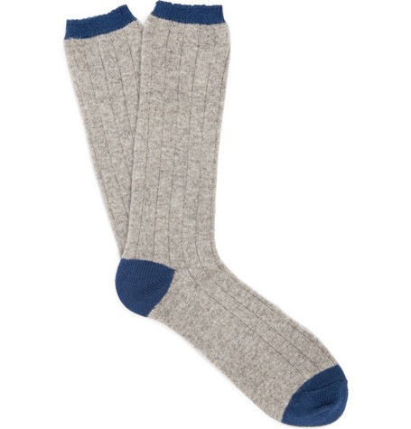 J.Crew Ribbed Cashmere-Blend Socks