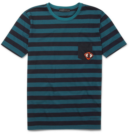 Burberry Prorsum Striped T-Shirt with Badge