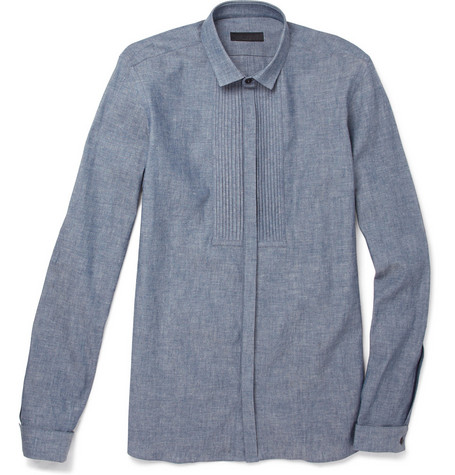 Burberry Prorsum Chambray Bib-Front Dinner Shirt