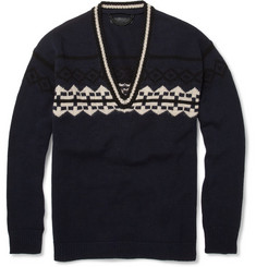 Burberry Prorsum Graphic V-Neck Wool-Blend Sweater