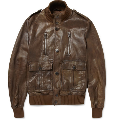 Gucci Pre-Aged Leather Bomber Jacket