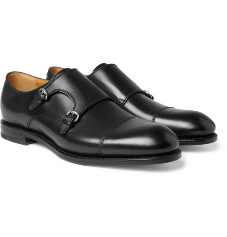 Gucci Double Monk-Strap Leather Shoes