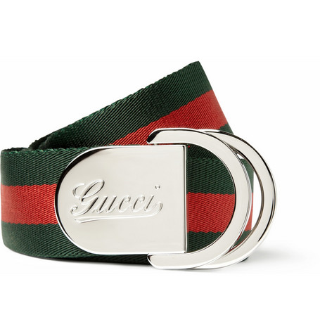 Gucci Striped Canvas Belt
