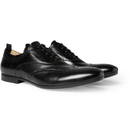 Alexander McQueen High Shine Leather Wingtip Brogues