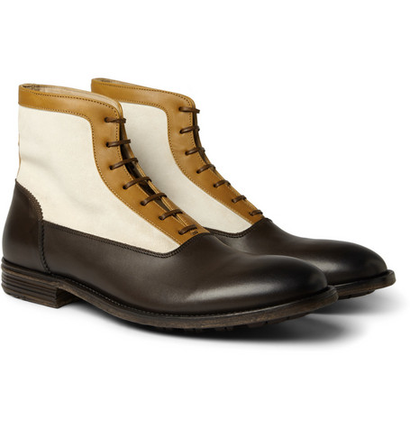 Alexander McQueen Panelled Leather and Suede Boots