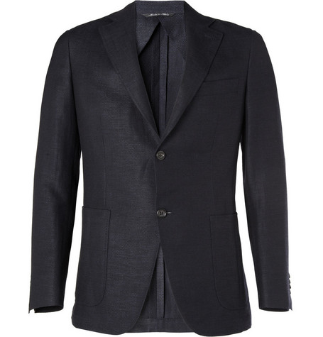 Canali Kei Unstructured Wool and Linen-Blend Blazer