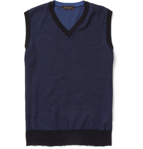 Canali Knitted Cotton Sleeveless Sweater