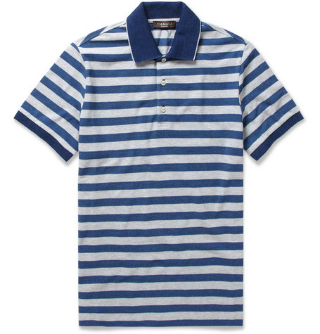 Canali Striped Cotton-Piqué Polo Shirt