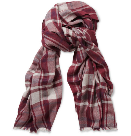 Loro Piana Cashmere and Silk-Blend Plaid Scarf