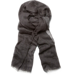 John Varvatos Crinkled Plaid Cotton Scarf