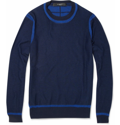 Givenchy Contrast-Seam Cotton and Silk-Blend Sweater