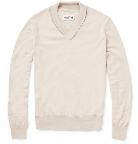 Maison Martin Margiela Shawl-Collar Cotton Sweater