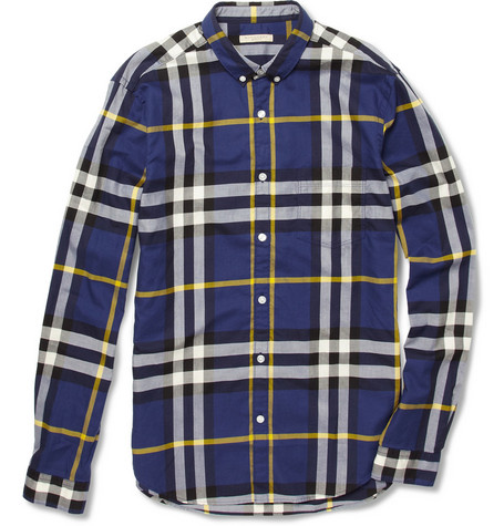 Burberry Brit Plaid Slim-Fit Cotton Shirt