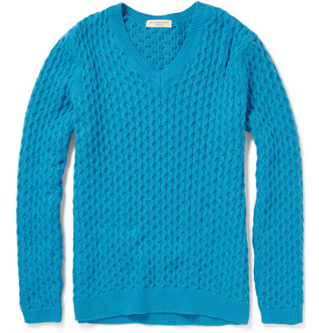 Burberry London Waffle-Knit Cotton-Blend Sweater