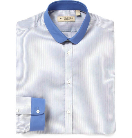 Burberry London Striped Contrast-Collar Shirt