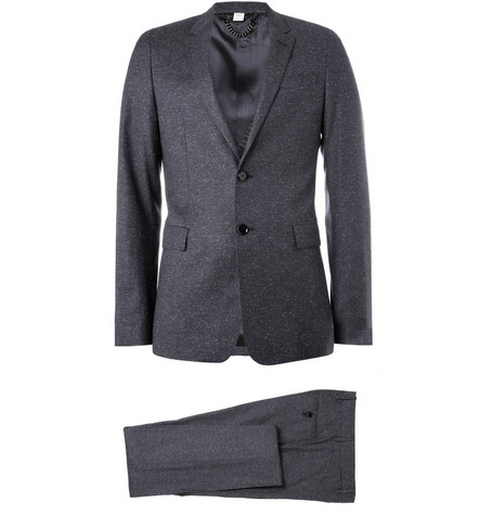 Burberry London Flecked Wool and Tussah Silk-Blend Suit