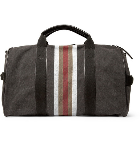 Burberry Shoes & Accessories Striped Cotton Canvas Holdall Bag