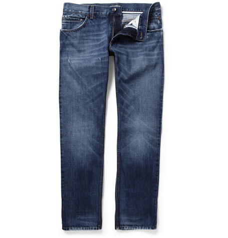 Dolce & Gabbana Distressed Straight-Leg Denim Jeans