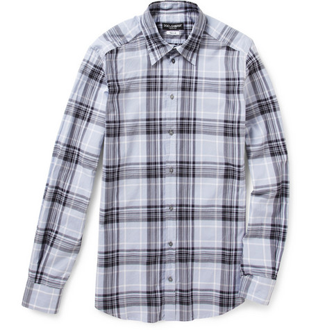 Dolce & Gabbana Gold Fit Plaid Cotton Shirt