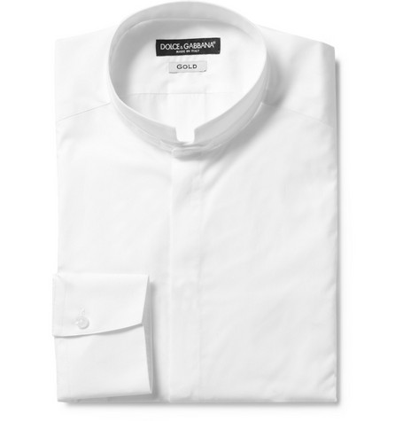 Dolce & Gabbana Gold Fit Nero Collar Cotton Tuxedo Shirt