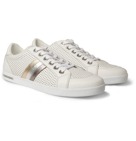 Dolce & Gabbana Perforated Leather Tri-Stripe Sneakers