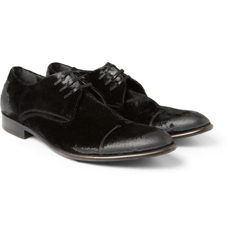 Dolce & Gabbana Washed-Velvet Derby Shoes