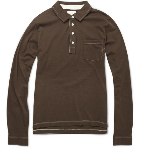 Billy Reid Cotton Long-Sleeve Polo Shirt