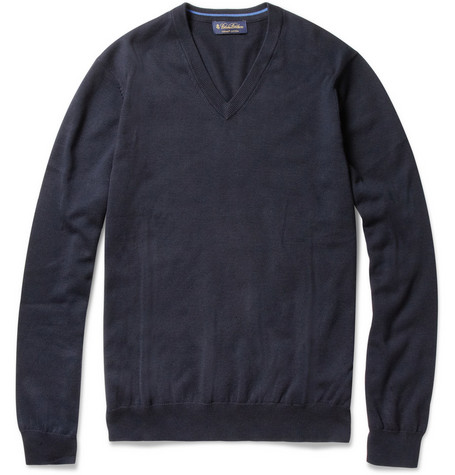 Brooks Brothers V-Neck Cotton Sweater