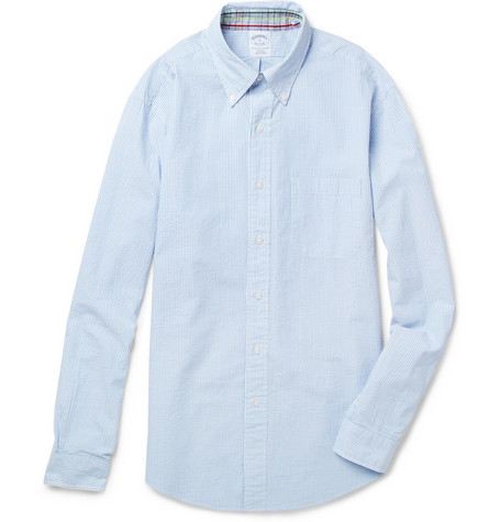 Brooks Brothers Striped Cotton-Seersucker Shirt