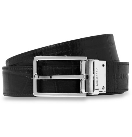 Mulberry Reversible Crocodile-Embossed Leather Belt