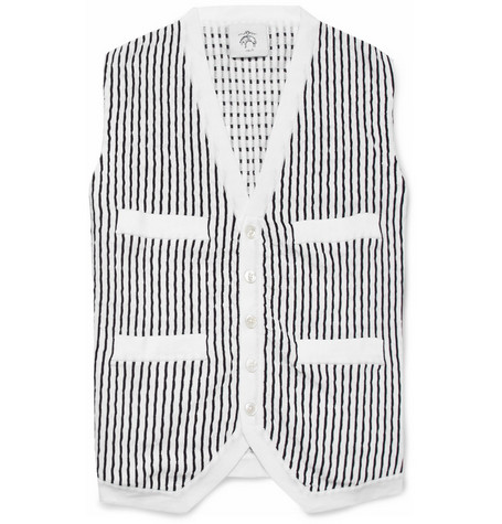 Black Fleece Textured Knitted-Cotton Waistcoat