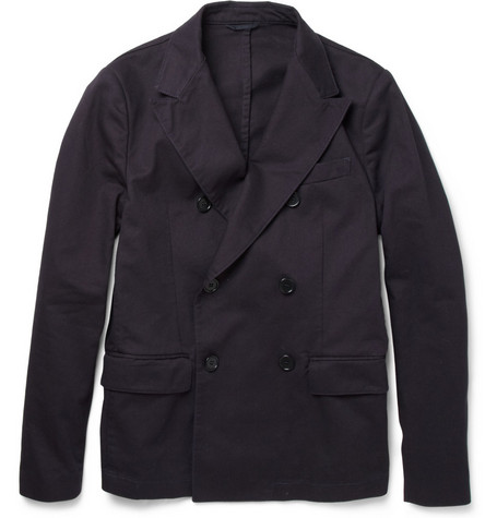 Aspesi Lacustre Double-Breasted Cotton-Twill Blazer
