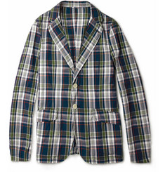 Aspesi Tennebaum Lightweight Plaid Cotton Blazer