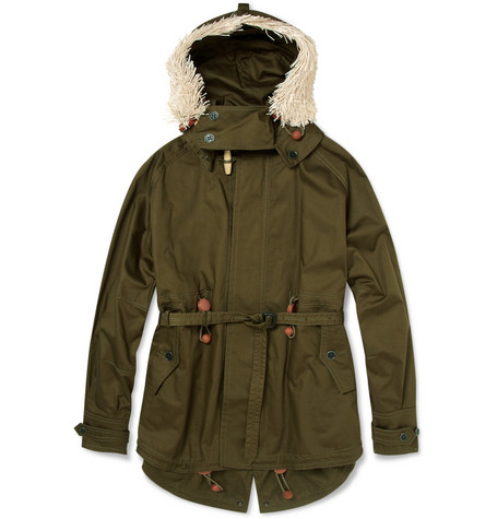 Burberry Prorsum Raffia-Trimmed Cotton-Twill Parka Jacket
